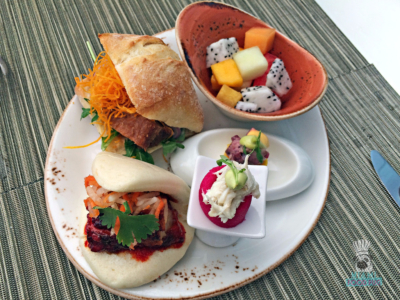 La Mar's buns, causa, and fruit