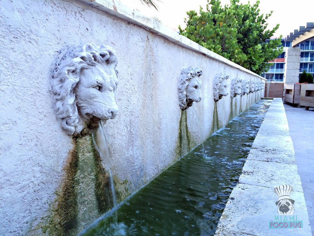 Cibo Wine Bar's Rooftop Lion Fountains