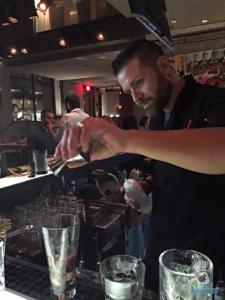 One of Cibo's bartendar's showing us how the drinks <em>should </em>be made.