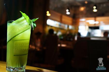 Naiyara's Gaeng Kiaw Gin - Thai Basil, Vietnamese Mint, Lemon Juice & Cucumber and Topped with Sparkling Nigori Jumai-Ginju Sake