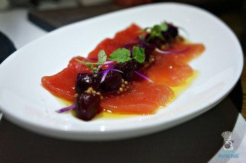 Quality Meats' Tuna Carpaccio with Beets
