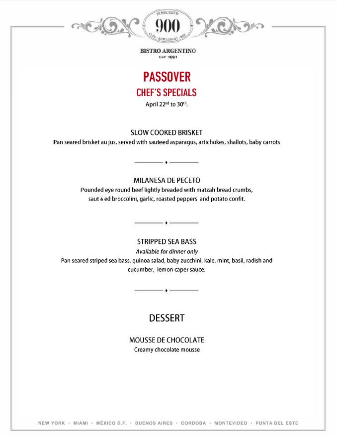 Passover Specials at Novecento Aventura